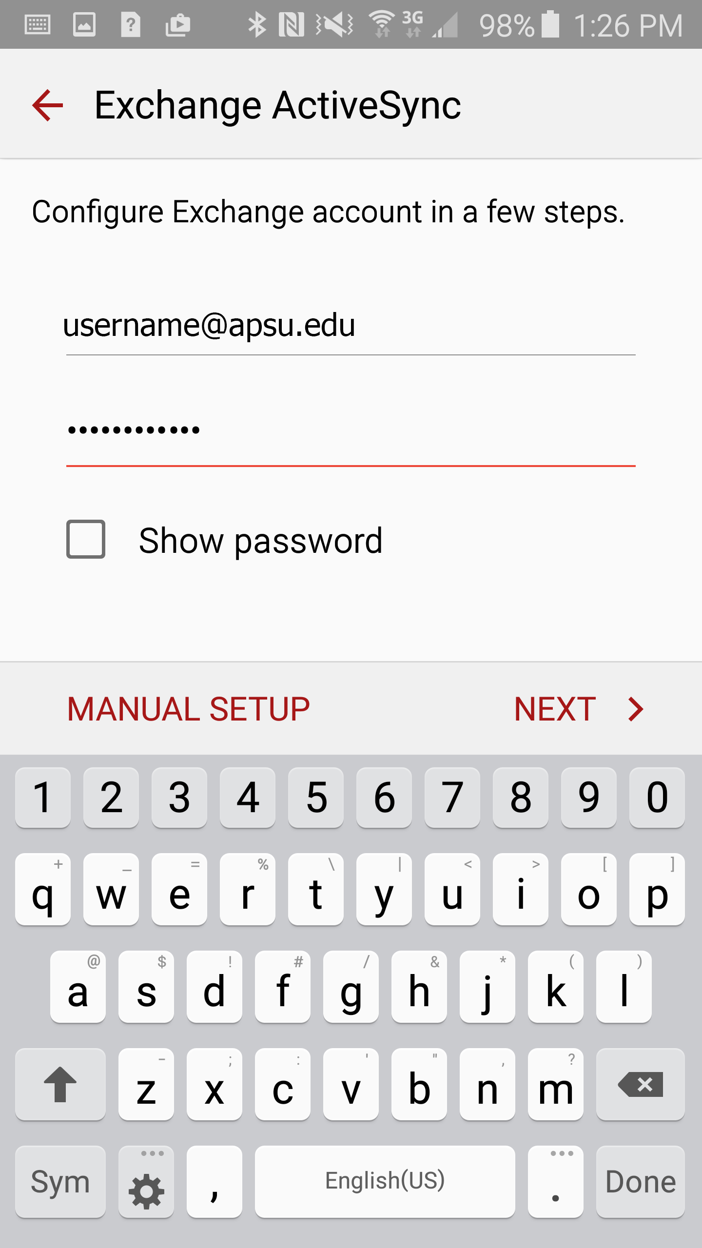 faculty/staff email android step 5